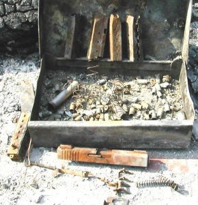 Burned Up Pistol Box and Ammo, Not a Fireproof Gun Safe