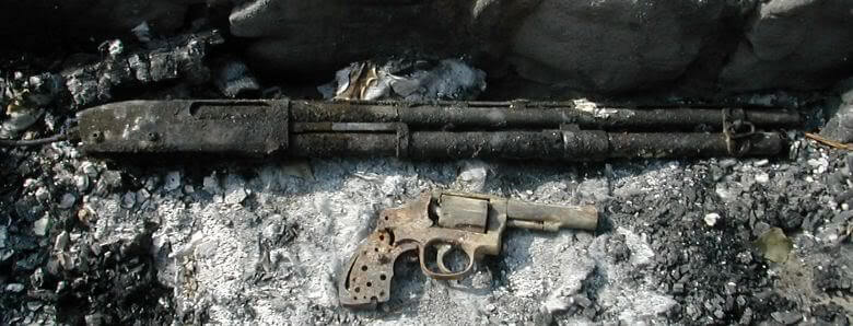 Burned Up Shotgun and Revolver, Needed Fireproof Gun Safe