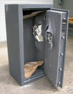 Hacked Open Gun Safe after Axe Attack