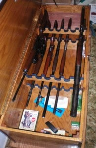 Horizontal Gun Safe Hidden in Wooden Chest