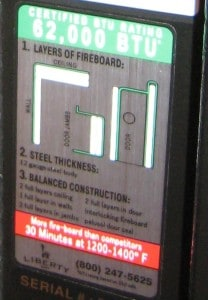 Fireproof Gun Safe Fire Label Showing Construction.