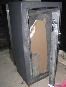 Gun Safe Door Frame after being Pried Open