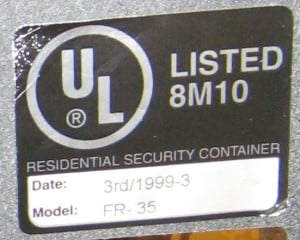 UL 1037 Section 54 Residential Security Container Label